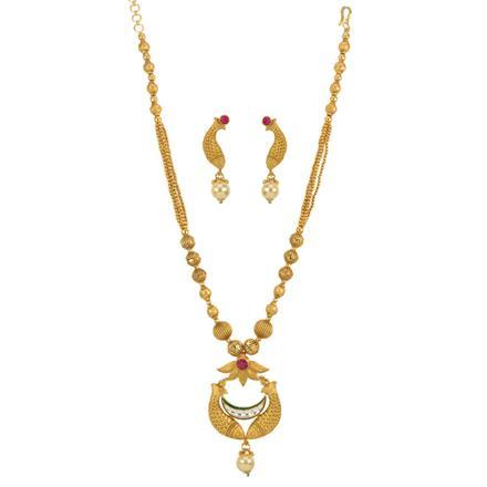 12700 Antique Mala Pendant Set with matte gold plating