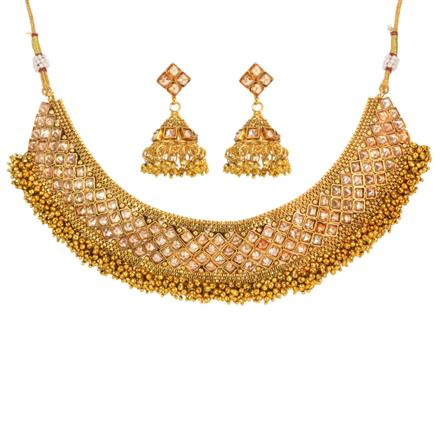 12768 Antique Mukut Necklace with gold plating
