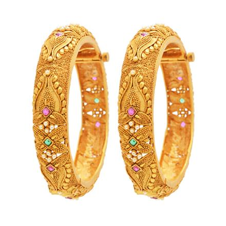 12769 Antique Openable Bangles with gold plating