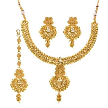 12784 Antique Plain Gold Necklace