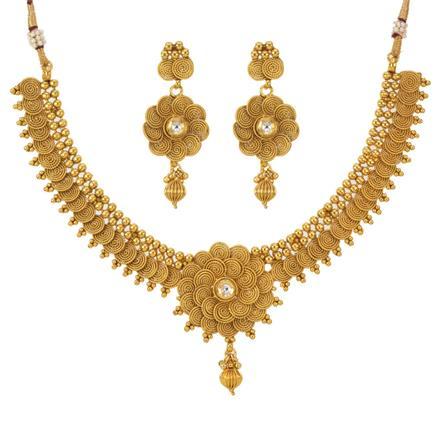 12786 Antique Plain Gold Necklace