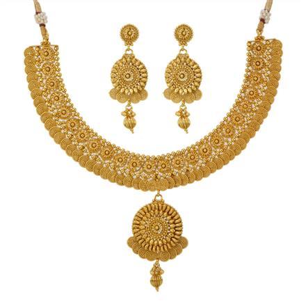 12789 Antique Plain Gold Necklace