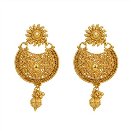 12841 Antique Plain Gold Earring
