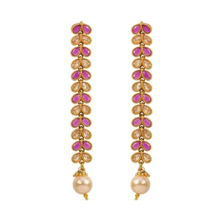 12872 Antique Long Earring with gold plating