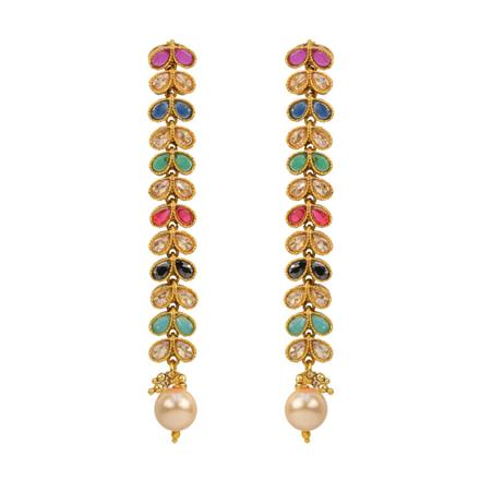 12873 Antique Long Earring with gold plating