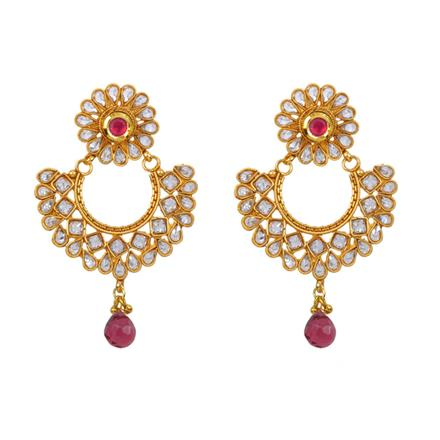 12875 Antique Chand Earring with gold plating