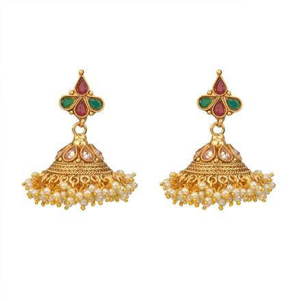 12876 Antique Jhumki with gold plating