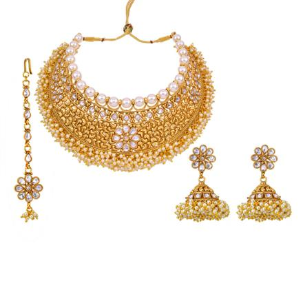 12882 Antique Mukut Necklace with gold plating