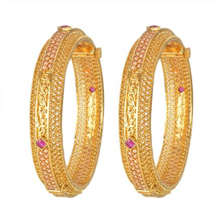12972 Antique Openable Bangles with gold plating