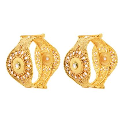12977 Antique Openable Bangles with gold plating