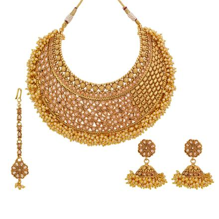 12983 Antique Mukut Necklace with gold plating