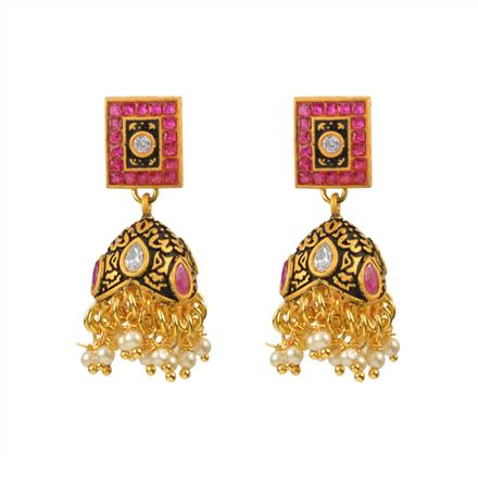 12987 Antique Jhumki with gold plating