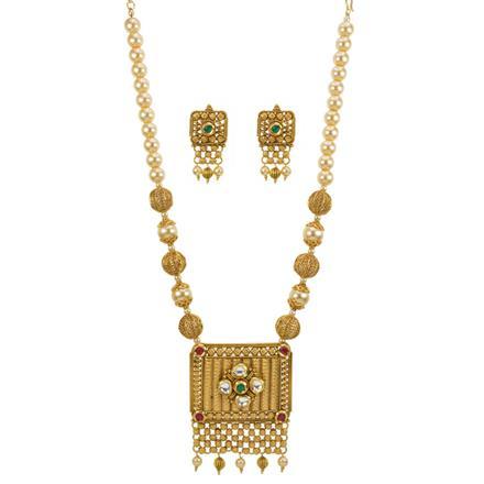 12989 Antique Mala Pendant Set with gold plating