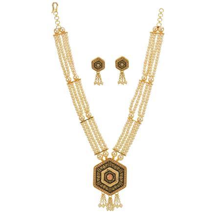 12990 Antique Mala Pendant Set with gold plating