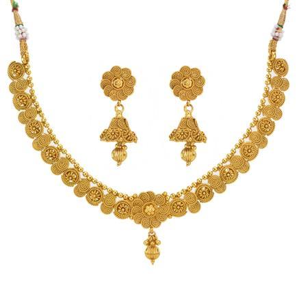 12996 Antique Plain Gold Necklace