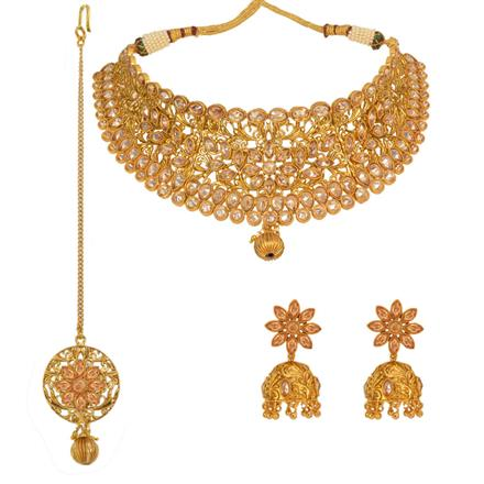 13004 Antique Mukut Necklace with gold plating
