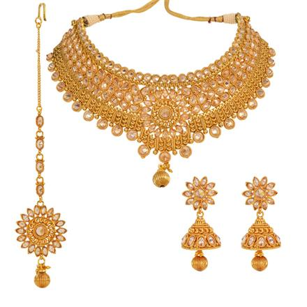 13005 Antique Mukut Necklace with gold plating