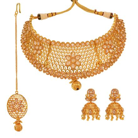 13006 Antique Mukut Necklace with gold plating