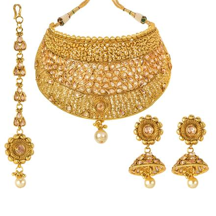 13040 Antique Mukut Necklace with gold plating