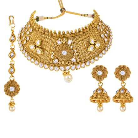 13042 Antique Mukut Necklace with gold plating