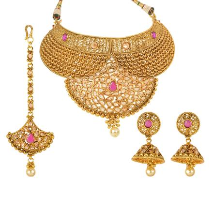 13044 Antique Mukut Necklace with gold plating