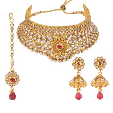 13070 Antique Mukut Necklace with gold plating