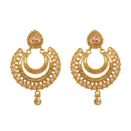 13092 Antique Chand Earring with gold plating