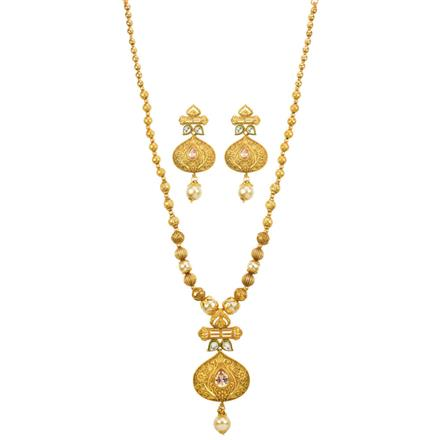 13109 Antique Mala Pendant Set with gold plating