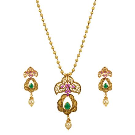 13111 Antique Classic Pendant Set with gold plating