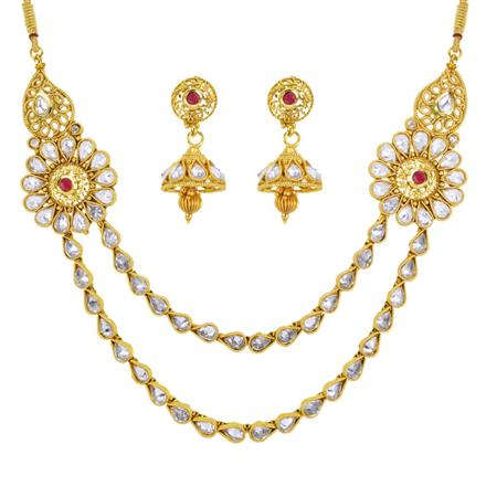 13126 Antique Side Pendant Necklace with gold plating