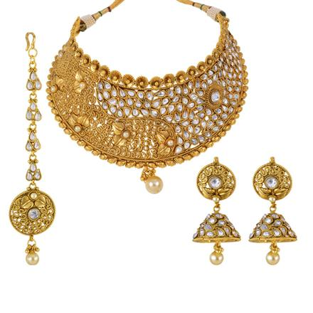 13130 Antique Mukut Necklace with gold plating