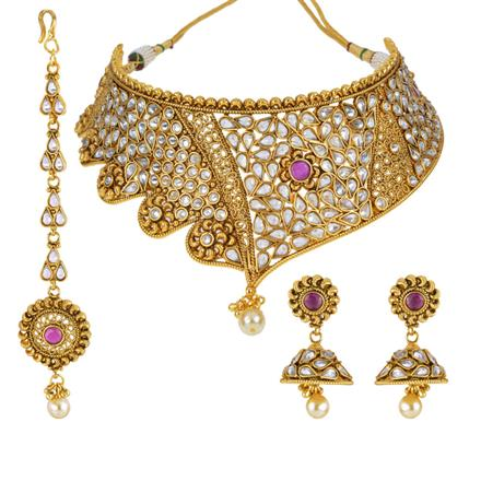 13131 Antique Mukut Necklace with gold plating