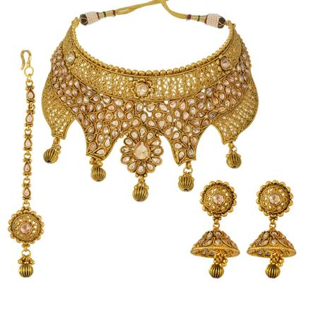 13132 Antique Mukut Necklace with gold plating