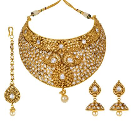 13133 Antique Mukut Necklace with gold plating