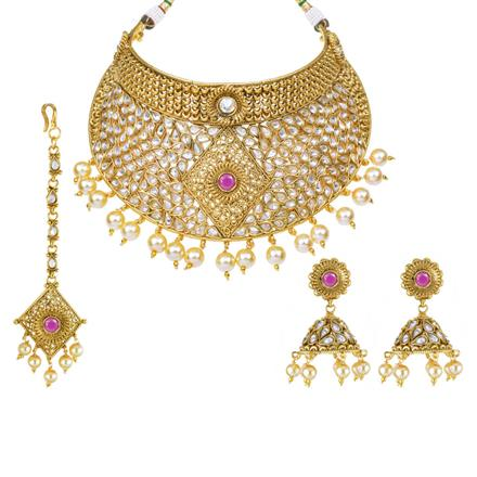 13134 Antique Mukut Necklace with gold plating