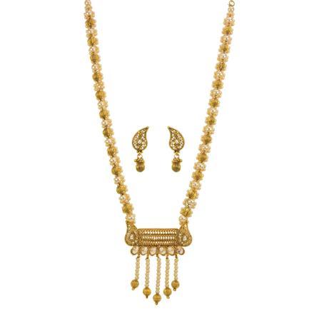 13135 Antique Mala Pendant Set with gold plating