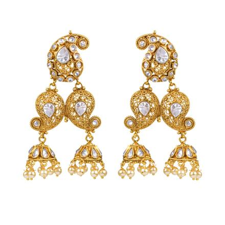 13138 Antique Long Earring with gold plating