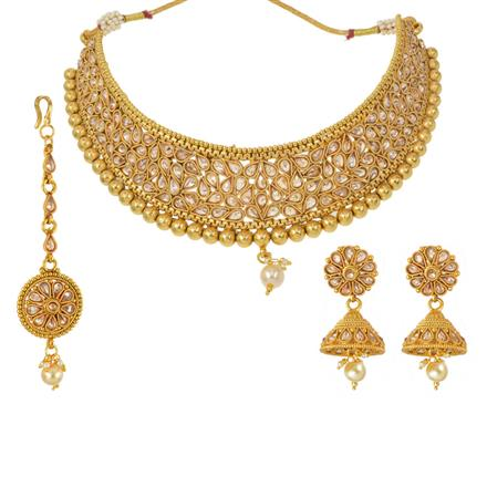 13148 Antique Mukut Necklace with gold plating