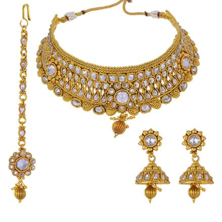 13149 Antique Mukut Necklace with gold plating