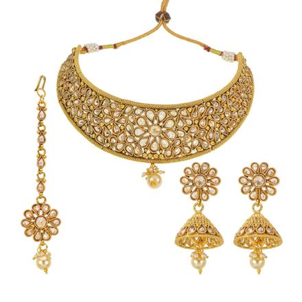 13165 Antique Mukut Necklace with gold plating