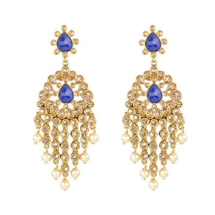 13232 Antique Long Earring with mehndi plating