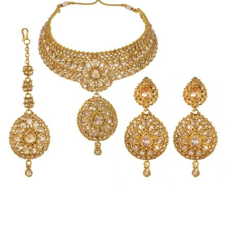 13244 Antique Mukut Necklace with gold plating