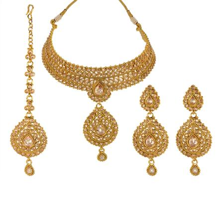 13245 Antique Mukut Necklace with gold plating
