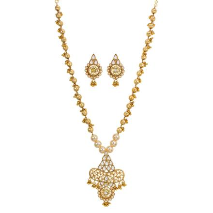 13249 Antique Mala Pendant Set with gold plating
