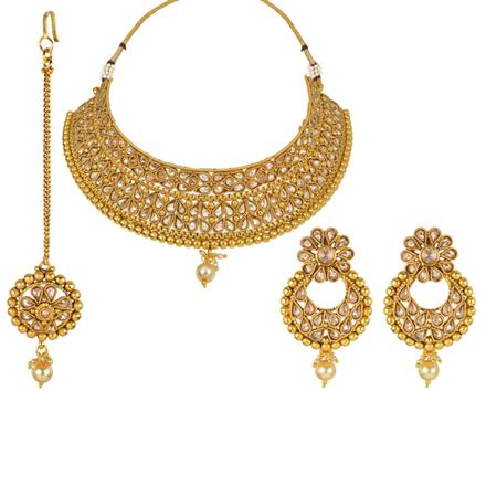 13255 Antique Mukut Necklace with gold plating
