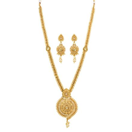 13257 Antique Long Necklace with gold plating