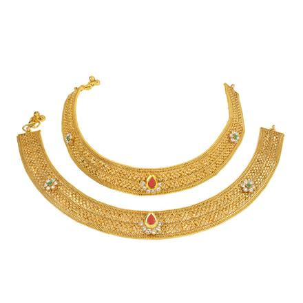 13262 Antique Classic Payal with gold plating