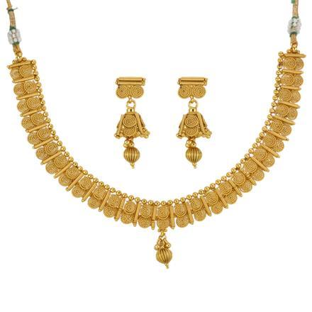 13290 Antique Plain Gold Necklace