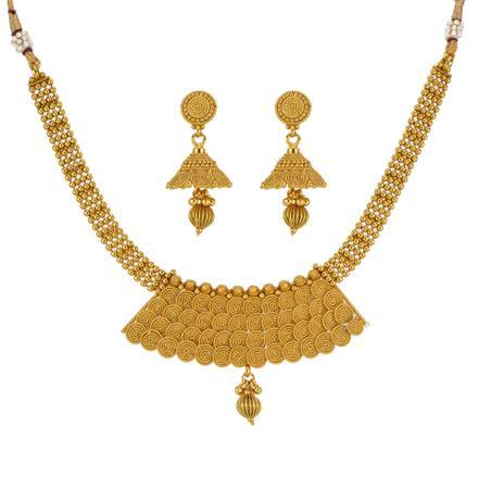 13291 Antique Plain Gold Necklace