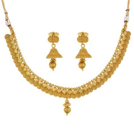 13293 Antique Plain Gold Necklace